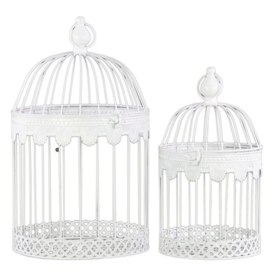 Metal Square 2 Piece Nesting Bird Cage Set