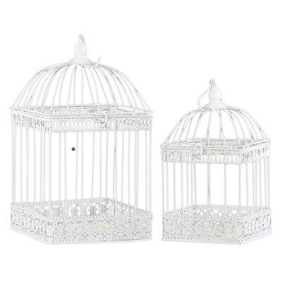 Metal Square 2 Piece Nesting Bird Cage Set