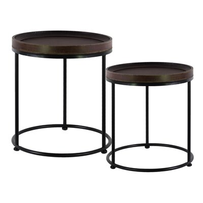 Wood Round 2 Piece Nesting Tables Finish: Stained Wood