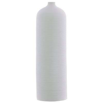 Ribbed Ceramic Cylindrical Table Vase OREL5380 40832179