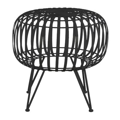 Wiggin Round Metal Drum End Table Color: Gloss Black