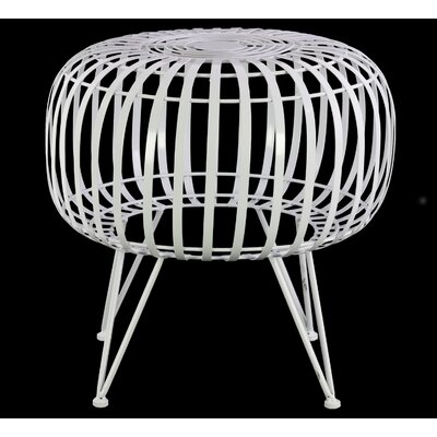 Wiggin Round Metal Drum End Table Color: Gloss White