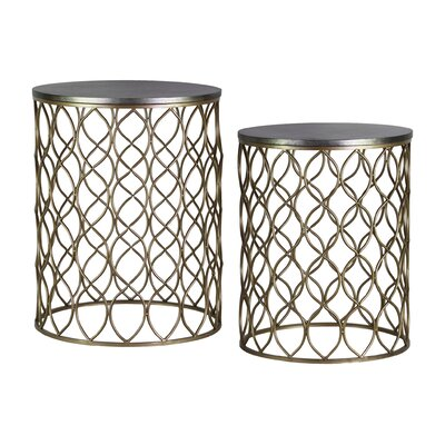 Lolita Round Metal 2 Piece Nesting Tables with Wood Top