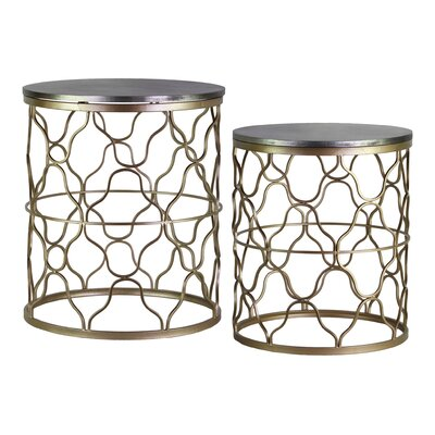 Lorne Round Metal 2 Piece Nesting Tables with Wood Top
