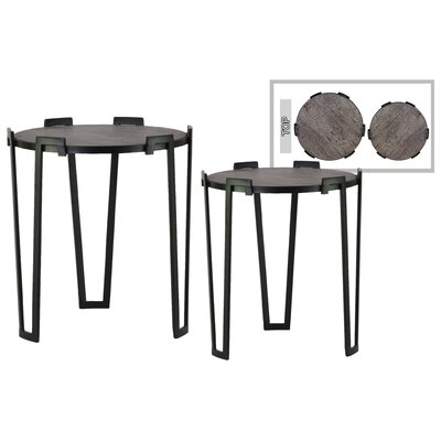 Valletta Round Metal 2 Piece Nesting Tables with Wood Top and 3 Leg