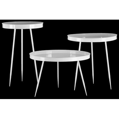 Greenwich Village Round Metal 3 Nesting Tables with 3 Leg Base Color: Gloss White