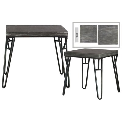 Germana Square Wood 2 Nesting Tables with 4 Hairpin Leg