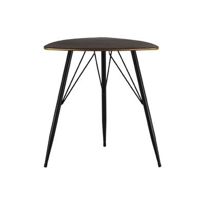 Petersham Triangular Metal End Table Table Top Color: Champagne