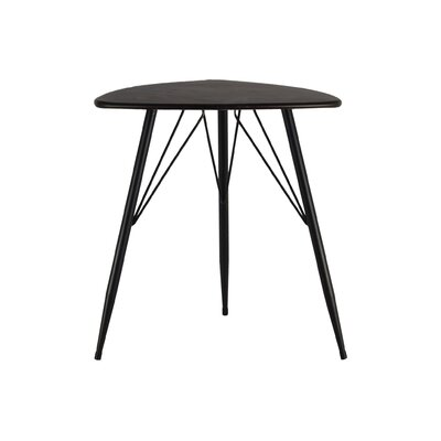 Petersham Triangular Metal End Table Table Top Color: Gray