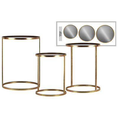 Gerhardina Round Metal 3 Nesting Tables Base Color: Gold