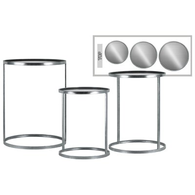 Gerhardina Round Metal 3 Nesting Tables Base Color: Silver