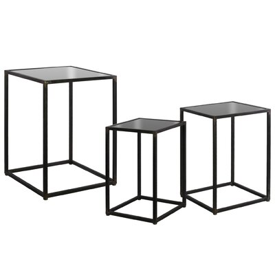 Shira Square Metal 3 Nesting Tables Color: Black