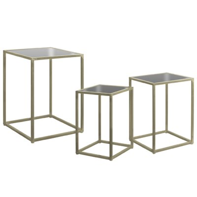 Shira Square Metal 3 Nesting Tables Color: Champagne