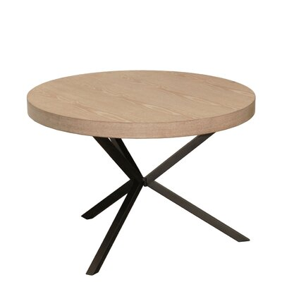 Suzann Round Wood End Table with Metal Crossed Leg