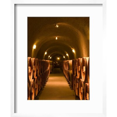 """'Pine Ridge Winery Cask Room, Yountville, Napa Valley, California' Framed Photographic Print Frame: Chelsea Gray/White Framed, Size: 22"""" H x 18"""" W 15145126"""