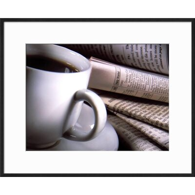 "'Cup of Coffee' Framed Photographic Print Frame: Black Framed, Size: 17"" H x 21"" W 78A90BB5ABB84795877DDFA792F49247"