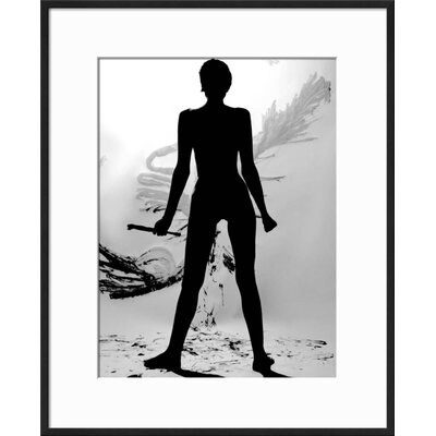 "'Silhouette of Nude Woman Painting Abstract Canvas' Framed Graphic Art Print Frame: Black Framed, Size: 21"" H x 17"" W 5F63EBAEDEDA450FA727B8B15D8B924F"