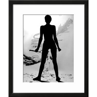 "'Silhouette of Nude Woman Painting Abstract Canvas' Framed Graphic Art Print Frame: Black Framed, Size: 23"" H x 19"" W E1FB7831600241ADBA3AD7BCC2FF4AC7"