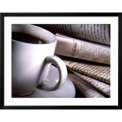 "'Cup of Coffee' Framed Photographic Print Frame: Black Framed, Size: 31"" H x 39"" W 15148227"