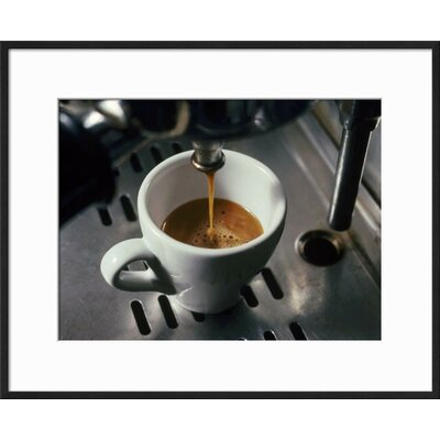 "'Machine Pouring Cup of Espresso' Framed Photographic Print Frame: Black Framed, Size: 17"" H x 21"" W 9ACE8FDA2FD84A87A7E2D75363669B0A"