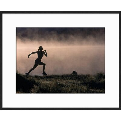 "'Silhouette of Woman Trail Running, CO' Framed Photographic Print Frame: Black Framed, Size: 17"" H x 21"" W 15146986"