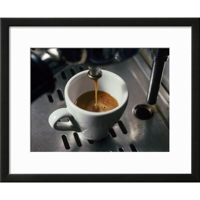 "'Machine Pouring Cup of Espresso' Framed Photographic Print Frame: Black Framed, Size: 19"" H x 23"" W 67AA88C502B449BE900ABB501968BAE1"