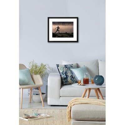 "'Silhouette of Woman Trail Running, CO' Framed Photographic Print Frame: White Framed, Size: 31"" H x 39"" W 15146991"