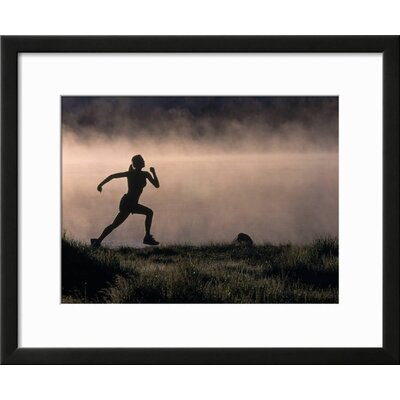 "'Silhouette of Woman Trail Running, CO' Framed Photographic Print Frame: Black Framed, Size: 19"" H x 23"" W 15146983"