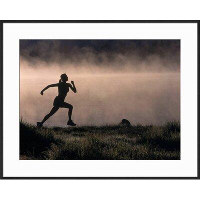 "'Silhouette of Woman Trail Running, CO' Framed Photographic Print Frame: Black Framed, Size: 23"" H x 29"" W B603FB2F0BAC4B7198FA96DDB640F6D0"