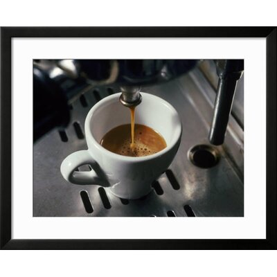 "'Machine Pouring Cup of Espresso' Framed Photographic Print Frame: Black Framed, Size: 25"" H x 31"" W 2A36C07FE3A74E748B623638642022B8"