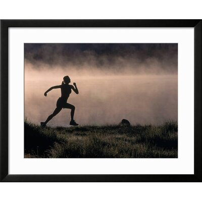 "'Silhouette of Woman Trail Running, CO' Framed Photographic Print Frame: Black Framed, Size: 25"" H x 31"" W 15146984"