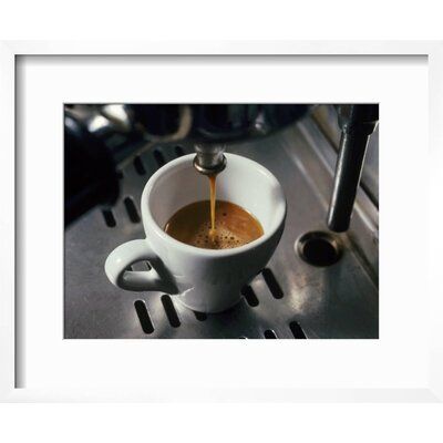 "'Machine Pouring Cup of Espresso' Framed Photographic Print Frame: Chelsea Gray/White Framed, Size: 18"" H x 22"" W 1BD7C8EAF8114B42A95DC514440B53BE"