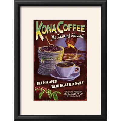 "'Kona Coffee - Hawaii' Framed Vintage Advertisement Frame: Onyx Black Framed, Size: 22"" H x 17"" W"