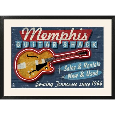 "'Memphis, Tennessee - Guitar Shack' Framed Vintage Advertisement Frame: Soho Wood Grain Black Framed, Size: 26"" H x 36"" W 15174777"