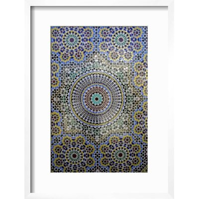 "Image of 'Mosaic Wall for Fountain, Fes, Morocco, Africa' Framed Print Frame: Chelsea White/Gray Framed, Size: 24"" H x 18"" W"