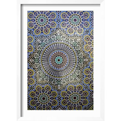 "Image of 'Mosaic Wall for Fountain, Fes, Morocco, Africa' Framed Print Frame: Neuhaus White/Gray Framed, Size: 43"" H x 31"" W"