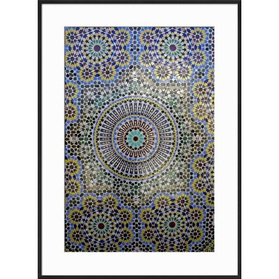 "Image of 'Mosaic Wall for Fountain, Fes, Morocco, Africa' Framed Print Frame: Ronda Ii Black Framed, Size: 29"" H x 21"" W"