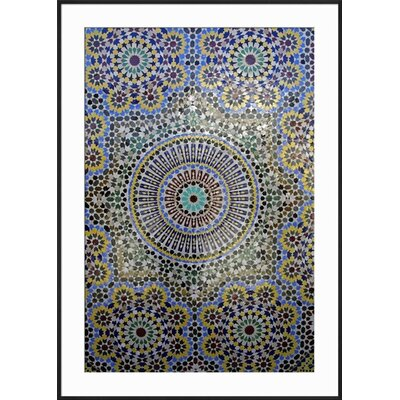 "Image of 'Mosaic Wall for Fountain, Fes, Morocco, Africa' Framed Print Frame: Ronda Ii Black Framed, Size: 41"" H x 29"" W"