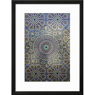 "Image of 'Mosaic Wall for Fountain, Fes, Morocco, Africa' Framed Print Frame: Soho Black Framed, Size: 25"" H x 19"" W"