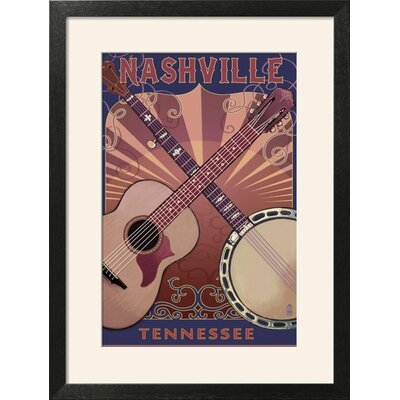 "'Nashville, Tennessee - Guitar and Banjo Music' Framed Vintage Advertisement Frame: Soho Wood Grain Framed, Size: 27"" H x 20"" W 15217324"