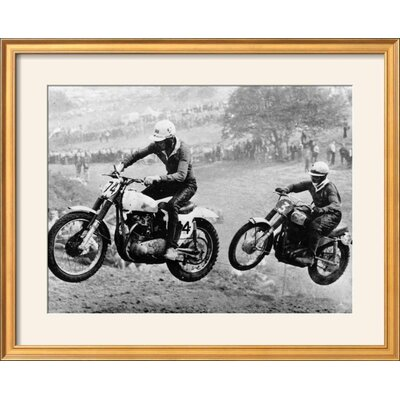 """'Two Motorcyclists Taking Part in Motocross at Brands Hatch, Kent' Framed Photographic Print Frame: Coventry Gold Framed, Size: 25"""" H x 31"""" W 15223295"""