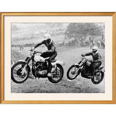 """'Two Motorcyclists Taking Part in Motocross at Brands Hatch, Kent' Framed Photographic Print Frame: Coventry Gold Framed, Size: 31"""" H x 39"""" W 15223293"""