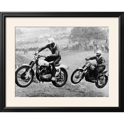 """'Two Motorcyclists Taking Part in Motocross at Brands Hatch, Kent' Framed Photographic Print Frame: Nurre Black Framed, Size: 25"""" H x 31"""" W 15223298"""