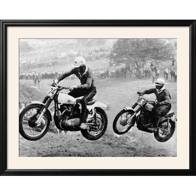 """'Two Motorcyclists Taking Part in Motocross at Brands Hatch, Kent' Framed Photographic Print Frame: Nurre Black Framed, Size: 31"""" H x 39"""" W 15223296"""