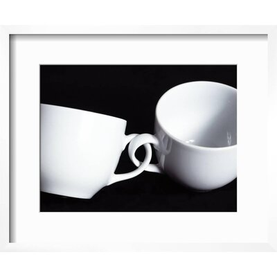 "'Two Cups with Intertwined Handles' Framed Photographic Print Frame: Chelsea Gray/White Framed, Size: 18"" H x 22"" W AB9F7683406A41BDBC30C6C84806F4EA"