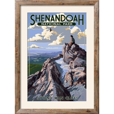 'Shenandoah National Park, Virginia - Stony Man Cliffs View' Framed Vintage Advertisement Frame: Rustica Tan/Brown Framed, Size: 37'' H x 28'' W 8B897E3D702E408082D1A3B978930E12