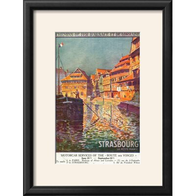 """'Strasbourg, France - View of a Man Steering a Ship, Alsace and Lorraine Railways, c.1920' Framed Vintage Advertisement Size: 21"""" H x 16"""" W, Frame: Onyx Black Framed 7F1426F6FA7346FD980E1BC9467C2D46"""