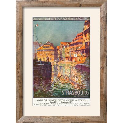 """'Strasbourg, France - View of a Man Steering a Ship, Alsace and Lorraine Railways, c.1920' Framed Vintage Advertisement Frame: Rustica Tan/Brown Framed, Size: 30"""" H x 22"""" W 15157547"""