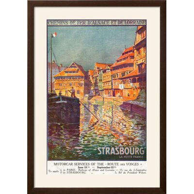 """'Strasbourg, France - View of a Man Steering a Ship, Alsace and Lorraine Railways, c.1920' Framed Vintage Advertisement Frame: Soho Espresso/Brown Framed, Size: 36"""" H x 26"""" W FCD36F00E0F34D59A0C0044CB3FB125B"""