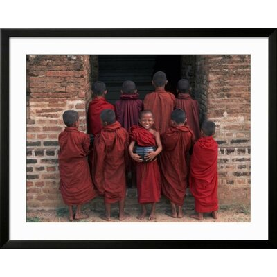 'Young Monks in Red Robes with Alms Woks, Myanmar' Framed Photographic Print B3BFDDDDA9E84FA19320BFD36BC2BB7E